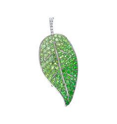 Diamond and Gemstone Leaf I brooch 2014 夏 | gimel -ギメル- (=)