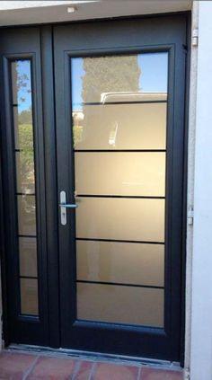 New Double Door Design Modern Entrance Ideas Modern Entrance Door, Modern Exterior Doors, Exterior Doors With Glass, Modern Front Door, Double Front Doors, Exterior Front Doors, Door Entryway, House Front Door, Entrance Doors