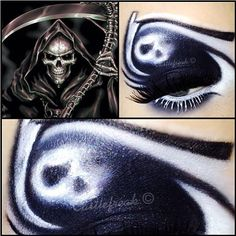 Incredible Grim Reaper look by Castlefreak using Sugarpill Tako and Kubiss black eyeshadow. Love the eyebrow as scythe - you clever little genius!