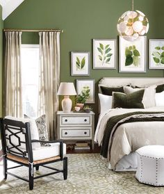 Soften an olive green wall with the the use of neutrals throughout the space.