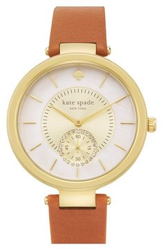 kate+spade+new+york+'perry'+crystal+accent+leather+strap+watch,+38mm+available+at+#Nordstrom