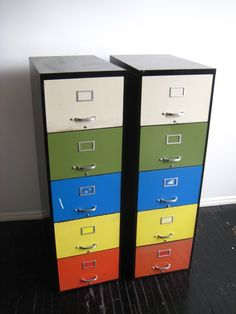 """I always eye the filing cabinets at Goodwill.. Next time I spot a cheap one without a huge """"somebody-clearly-punched-it-here"""" dent I'm totally going to buy it.  What a great way to organize my """"junk"""" room without those clear, over-priced plastic drawer things!"""