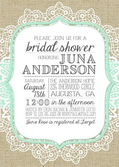 Burlap and Lace Bridal Shower Invitation by JulsNewbrough on Etsy.... Um I'm freakin in love with this