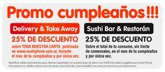SushiPhone , el mejor delivery de sushi de buenos aires .  Si estas registrado en el sistema , en el mes de tu cumpleaños te hacemos un descuento del 25% en una compra. 0810 345 7874