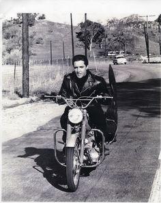 Elvis Presley on Harley Davidson motorcycle, 1964