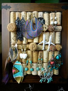 We made this one too, and it was a bit trickier than I thought, but it looks cool.  WIne Cork Jewelry display holder, wooden frame, Jewelry organizer, jewelry hanger