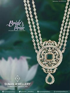 Enchanting beauty embedded in a fine design of Jewellery. Shop enticing neck wear at our Suman jewellery showroom. Indian Wedding Jewelry, Bridal Jewelry, Indian Jewelry, Emerald Jewelry, Diamond Jewelry, Gold Jewelry, Pendant Jewelry, Beaded Jewelry, Diamond Necklace Set