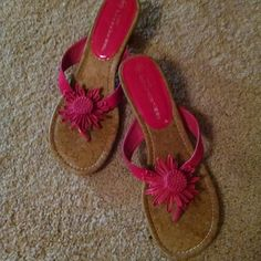 Hot pink flower sandals Short heel thing style sandal with cork footbed and flower detail.  Super cute!  Worn only a few times!! Shoes Sandals