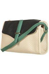 green perforated crossbody bag $50