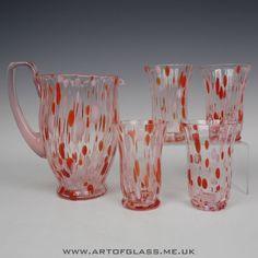 Kralik Bohemian Art Deco set of 4 pink glass tumblers jug