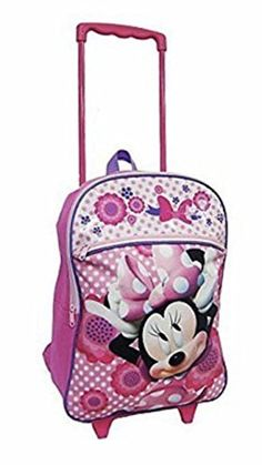 Disney Minnie Mouse Polka Dot  Floral Rolling Backpack >>> See this great product.