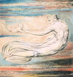 William Blake, 'Plate 2 of 'Urizen': 'Teach these Souls to Fly'' releif etching,ink and watercolour on paper. William Blake Art, English Poets, Ciel, Great Artists, Printmaking, Mythology, Illustration Art, Illustrations, Fine Art