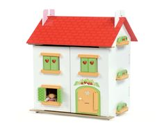 The Tutti Frutti Dolls House from Le Toy Van is a new release for this year and promises to be just as successful as the other dolls houses in this range.    It includes the Deluxe Starter Furniture Set and comes fully painted and decorated with strawberry motif and opening window shutters.    The dolls are sold seperately.