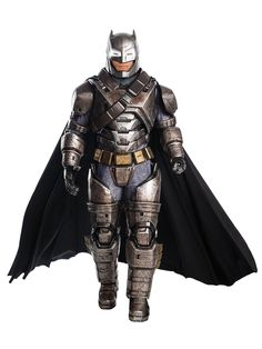 You will feel like an absolute superhero with the Batman vs. Superman: Dawn of Justice ? Batman Armored Grand Heritage Men's Costume. This exclusive outfit will have all the kids in awe because the costume will make you look like the real deal. You will be dressed in a jumpsuit, helmet, belt, bandolier, cape and gloves. The outfit has molded armor, gauntlets and boot tops. It is the perfect costume for a Batman themed birthday party or to enforce the rules when trick or treaters come to your hou Batman Vs Superman, Batman Armor, Superman Dawn Of Justice, Batman Suit, Superman Costumes, Movie Costumes, Character Costumes, Adult Costumes, Costume Ideas