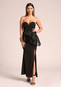 28d1dba40214a Black Sweetheart Peplum Slit Maxi Gown Peplum Gown, Maxi Gowns, Gown With  Slit,