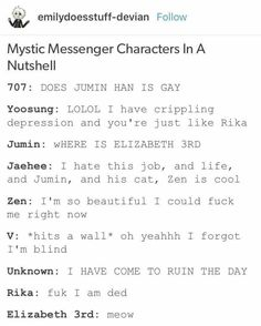 Mystic Messenger Characters in a Nutshell