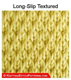 Knitting Stitches Patterns Texture Ideas For 2019 Slip Stitch Knitting, Knitting Basics, Knitting Stiches, Loom Knitting, Sewing Basics, Crochet Stitches, Hand Knitting, Basic Sewing, Knitting Designs