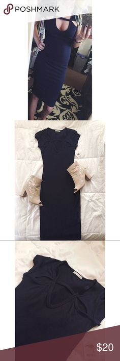 🎉 HOST PICK 🎉 • Stay Fabulous • Size = XS, NWT, navy midi dress, has some cut out designs on front chest area, fits like a glove, comfy and fabulous .  ~ I DO NOT SWAP, SO PLEASE DON'T ASK. YOU WILL BE IGNORED.  ~ I NO LONGER HOLD MY ITEMS, FIRST COME FIRST SERVE.   ~YOUR PURCHASE WILL BE SHIPPED WITHIN 24-48 HOURS AFTER PURCHASED, FROM THAT POINT ON I CANNOT CONTROL HOW LONG IT WILL TAKE FOR THE SHIPPING SERVICE TO GET IT TO YOU. *PLEASE BE PATIENT*  ~I AM MORE THAN HAPPY TO MAKE YOU A…