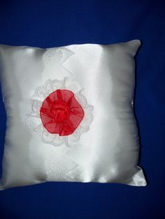 """White Wedding  Satin Ring Bearer Pillow  With White Satin Ribbon and Red  Rosette (9"""" X 9"""") by SewUniqueShop on Etsy"""