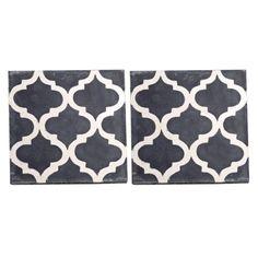Tine K Home Rococo Tegel Handmade Cement Zwart Set van 2 - 20 x 20 cm - afbeelding 1 Rococo, Cement, Tin, Contemporary, Rugs, Handmade, Home Decor, Farmhouse Rugs, Hand Made