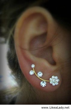 I don't wear earings, but would wear these! Ear Sweep Wrap - Cuff Earring with Swarovsky - Gold Filled- Flower Cute Jewelry, Jewelry Box, Jewelry Accessories, Fashion Accessories, Fashion Jewelry, Gold Jewelry, Jewelry Armoire, Jewelry Stores, Jewelry Trends