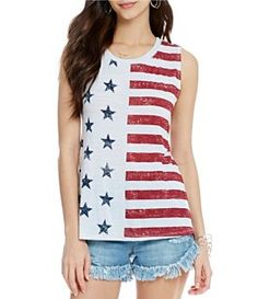 Moa Moa Americana Stars and Stripes Screen Print Tank