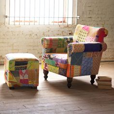 Recycled Cloth Patchwork Lounge Chair  | dotandbo.com