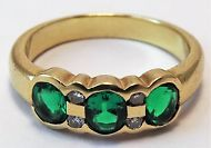 9ct Yellow Gold Emerald and Diamond band ring