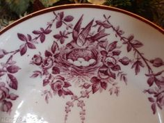 Purple Transferware Platter with Birds