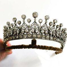 Gold Tiara Crown, Diamond Tiara, Crown Jewels, Rose Cut Diamond, Silver Diamonds, Colored Diamonds, Head Jewelry, Jewellery, Wedding Jewelry
