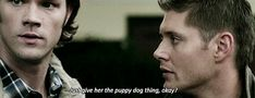 """Click through for [gifset] """"Just give her the puppy dog thing, okay?"""" - Dean  Supernatural  TheRealGhostbusters  5.09"""