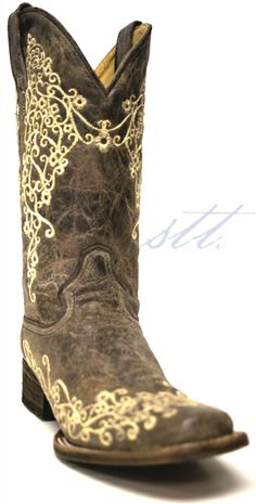 Corral Women's Crater Bone Inlay Cowgirl Boots -- If your wedding has a vintage feel, these boots will fit right in! | SouthTexasTack.com