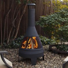 Extend the length of your outdoor living season with the Steel Camber Chiminea. The classic styling brings functional wood burning ambiance to your outdoor environment. Includes spark screen, log poker tool, and vinyl protective storage cover. The Steel Camber Chiminea can be adapted for Real Flame gel cans with the addition of the Real Flame 2-can or 4-can outdoor conversion log set.