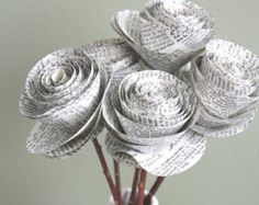 rolled paper roses. repurposed dictionary. recycled por dragonflies