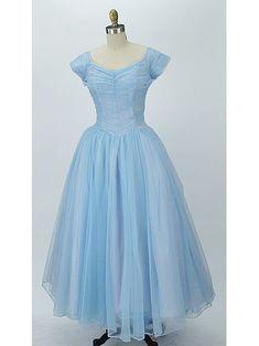 50's blue nylon chiffon informal wedding dress-1950s vintage porm dress-authentic vintage dresses