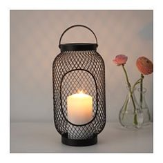 IKEA - TOPPIG, Lantern for block candle, The warm light from the candle shines decoratively through the pattern on the lantern.