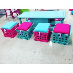 """They're done! For a """"How To: Crate Seats"""" blog post, head over to talesofanaccidentalteacher.com 🤗"""