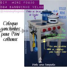 DIY TRANSFORME BANQUETA EM MINI FOGÃO | Mamãe Plugada
