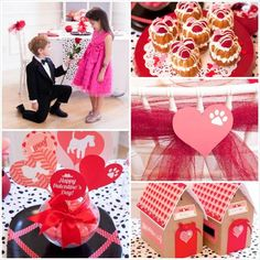 Puppy Love Valentine's Day Party with lot of cute ideas via Kara's Party Ideas KarasPartyIdeas.com #vdayparty #valentinesdesserts #partyidea...