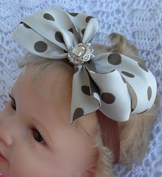 Beige with brown polka dot bow on brown by Joysheartcreations, $6.95