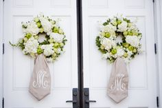 I adore these wreaths--I actually want one for my door! monogram wreaths give a personal wedding touch I Do I Do Wedding Planning & Consulting. Door Monogram, Monogram Wreath, Wedding Coordinator, Wedding Events, Wedding Planner, Wedding Wreaths, Wedding Decorations, Floral Wedding, Wedding Flowers