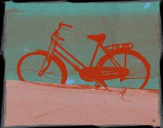 Male Bike Painting Print on Wrapped Canvas