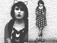 H&M Cat Ears, H&M Cat Dress, Voodoo Vixens Cardigan, Tuk Cat Shoes