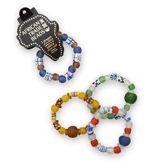 Handmade African Trade Bead Stretch Bracelet by jewelrymandave, $44.95