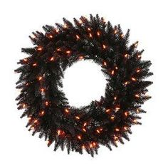Vickerman Pre-Lit Douglas Fir Artificial Halloween Wreath With Orange