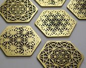 Sacred Geometry HIVE coasters by COZODesign on Etsy