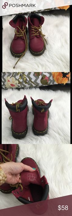 Dr. Martens lace up boots Brand new** no tags. Deep red color lace up Dr. Marten boots. Super cute . No signs of wear. Size in U.S. is 6 but in U.K. Size 37 . All sales are final , no refunds . Bundle up and save . Dr. Martens Shoes Lace Up Boots