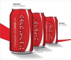 Coca-Cola crea botellas y latas con nombres en braille