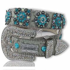 XXL Gray Belt with Turquoise Crystals  The Western Boutique offers a wide selection of beautiful Texas style  Cowgirl Bling Belts. Made of genuine leather and cowhide.    These western belts feature Rhinestones, Crystals, Crosses, Conchos, and Pistols.  http://thewesternboutique.com/rhinestone-cowgirl-bling-western-belts.html