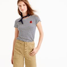 Jcrew Striped painter T-shirt with embellished patch